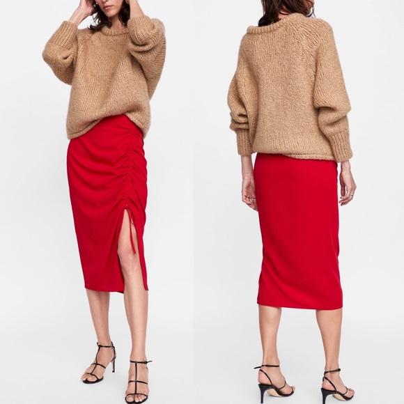 Zara Red Skirt w/ Front Ruching